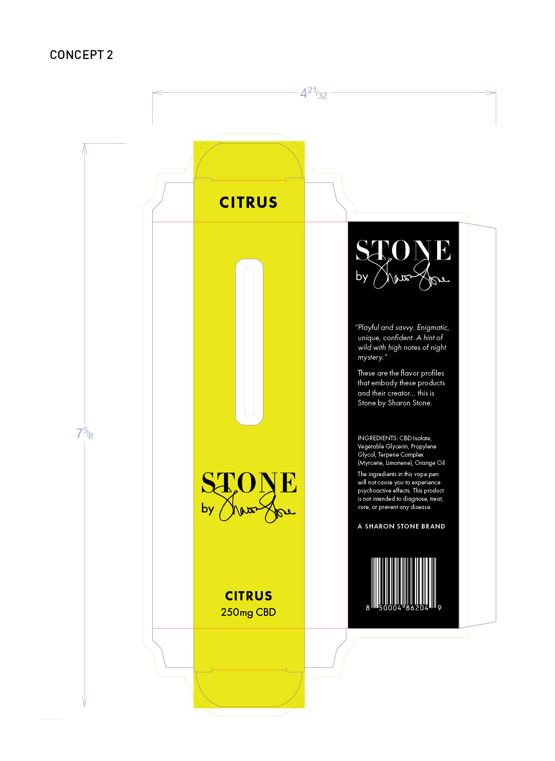 Stone by Sharon Stone prototypes—vape pen box